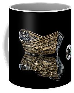 Dory And Mooring On Black Coffee Mug by Marty Saccone