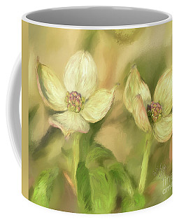 Coffee Mug featuring the digital art Double Dogwood Blossoms In Evening Light by Lois Bryan