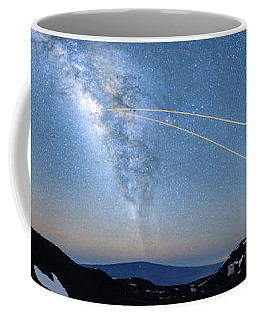 Double Lasers With The Milky Way Panorama Coffee Mug