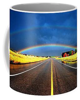 Double Rainbow Over A Road Coffee Mug