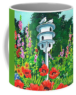 Coffee Mug featuring the painting Dove Palace by Val Stokes