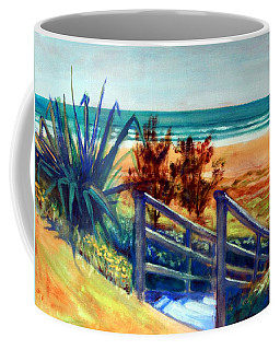 Coffee Mug featuring the painting Down The Stairs To The Beach by Winsome Gunning