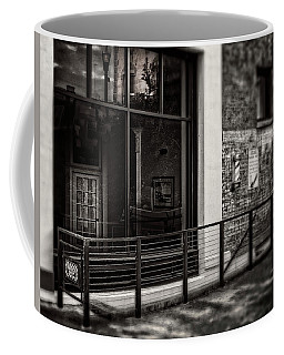 Down To The Barber Shop In Black And White Coffee Mug by Greg Mimbs