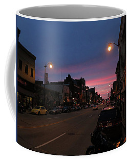 Coffee Mug featuring the photograph Downtown Racine At Dusk by Mark Czerniec