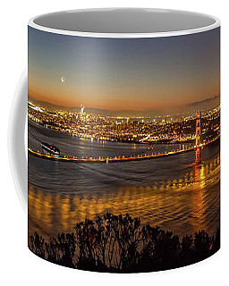 Downtown San Francisco And Golden Gate Bridge Just Before Sunris Coffee Mug