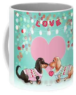 Coffee Mug featuring the painting Doxie Valentine's Party by Catia Lee