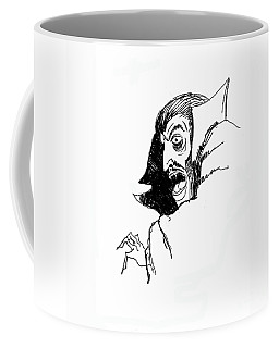 Coffee Mug featuring the drawing Dracula by Art MacKay