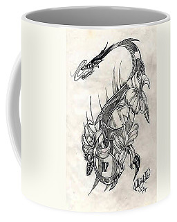 Coffee Mug featuring the drawing Dragon by Michelle Dallocchio