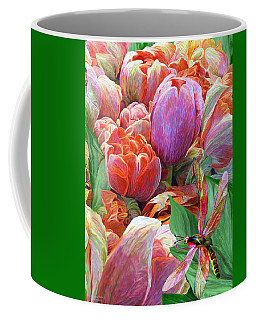 Coffee Mug featuring the mixed media Dragonfly And Tulips 2 by Carol Cavalaris