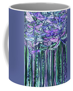 Coffee Mug featuring the mixed media Dragonfly Bloomies 1 - Lavender Teal by Carol Cavalaris