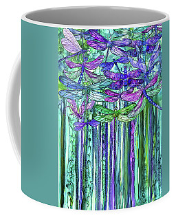 Coffee Mug featuring the mixed media Dragonfly Bloomies 1 - Purple by Carol Cavalaris