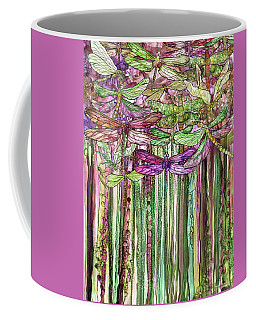 Coffee Mug featuring the mixed media Dragonfly Bloomies 1 - Pink by Carol Cavalaris