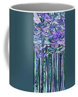 Coffee Mug featuring the mixed media Dragonfly Bloomies 2 - Lavender Teal by Carol Cavalaris