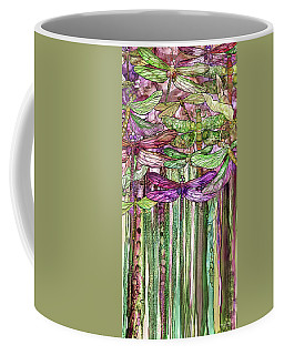 Coffee Mug featuring the mixed media Dragonfly Bloomies 2 - Pink by Carol Cavalaris