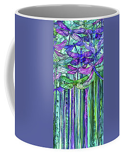 Coffee Mug featuring the mixed media Dragonfly Bloomies 2 - Purple by Carol Cavalaris