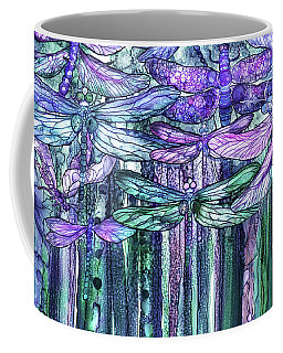 Coffee Mug featuring the mixed media Dragonfly Bloomies 3 - Lavender Teal by Carol Cavalaris