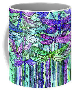 Coffee Mug featuring the mixed media Dragonfly Bloomies 3 - Purple by Carol Cavalaris