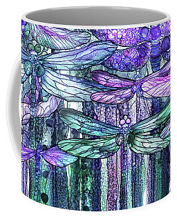 Coffee Mug featuring the mixed media Dragonfly Bloomies 4 - Lavender Teal by Carol Cavalaris