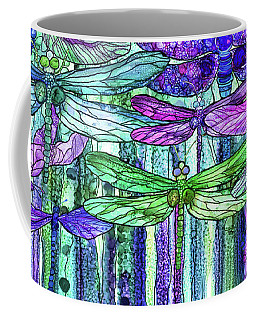 Coffee Mug featuring the mixed media Dragonfly Bloomies 4 - Purple by Carol Cavalaris