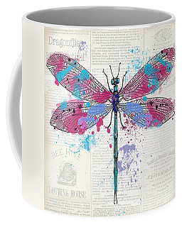 Dragonfly On Newsprint-jp3453 Coffee Mug