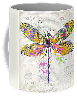 Dragonfly On Newsprint-jp3454 Coffee Mug
