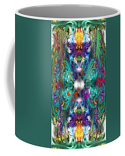 Coffee Mug featuring the painting Dragons Of The Temple by Reed Novotny