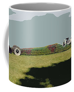 Coffee Mug featuring the photograph Dragster Flower Bed by Bill Thomson