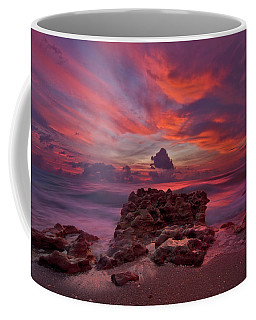 Coffee Mug featuring the photograph Dramatic Sunrise Over Coral Cove Beach In Jupiter Florida by Justin Kelefas