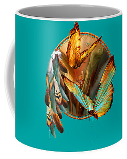 Dream Catcher - Spirit Of The Butterfly Coffee Mug by Carol Cavalaris