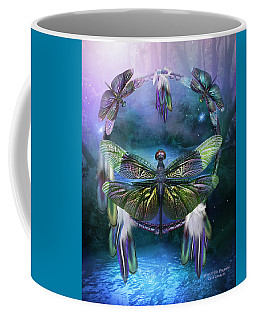 Dream Catcher - Spirit Of The Dragonfly Coffee Mug by Carol Cavalaris