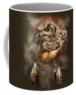 Coffee Mug featuring the mixed media Dream Catcher - Spirit Of The Owl by Carol Cavalaris