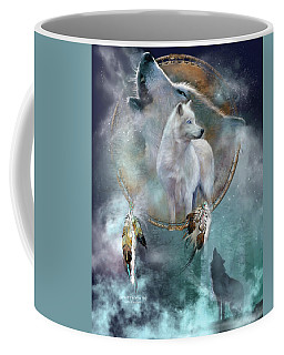 Dream Catcher - Spirit Of The White Wolf Coffee Mug by Carol Cavalaris