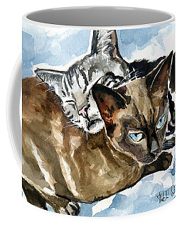 Coffee Mug featuring the painting Dream Guardian - Cat Painting by Dora Hathazi Mendes