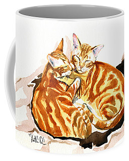 Coffee Mug featuring the painting Dreaming Of Ginger - Orange Tabby Cat Painting by Dora Hathazi Mendes