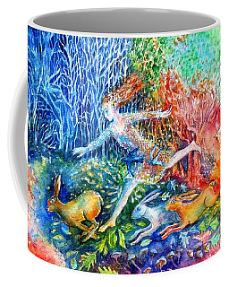 Coffee Mug featuring the painting Dreaming With Hares by Trudi Doyle