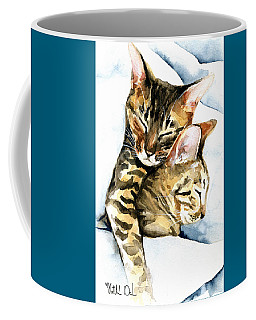 Dreamland - Bengal And Savannah Cat Painting Coffee Mug