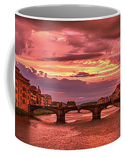 Saint Trinity Bridge From Ponte Vecchio At Red Sunset In Florence, Italy Coffee Mug
