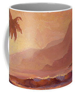 Coffee Mug featuring the painting Dreams Of Hawaii - Tropical Beach Sunset Paradise Landscape Painting by Karen Whitworth