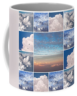 Coffee Mug featuring the photograph Dreamy Clouds Collage by Jenny Rainbow
