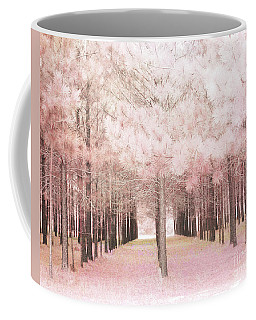 Coffee Mug featuring the photograph Dreamy Shabby Chic Pink Nature Pink Trees Woodlands - Pink Nature Nursery Prints Decor by Kathy Fornal