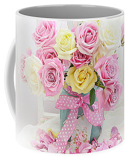 Coffee Mug featuring the photograph Dreamy Shabby Chic Pink Yellow Roses On White Chair - Vintage Pastel Cottage Pink Roses Home Decor by Kathy Fornal