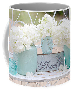 Dreamy White Hydrangeas - Shabby Chic White Hydrangeas In Aqua Blue Teal Mason Ball Jars Coffee Mug