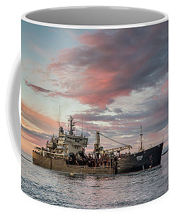 Coffee Mug featuring the photograph Dredging Ship by Greg Nyquist