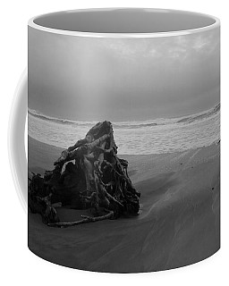 Coffee Mug featuring the photograph Driftwood And Ocean by Karen Molenaar Terrell