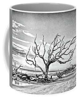 Coffee Mug featuring the photograph Driftwood Beach - Black And White by Kerri Farley