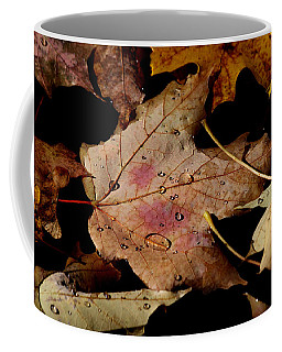 Coffee Mug featuring the photograph Droplets On Fallen Leaves by Doris Potter