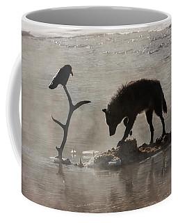Druid Wolf And Raven Silhouette Coffee Mug
