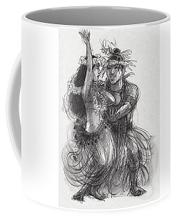 Coffee Mug featuring the drawing Drum Dance Pas-de-deux by Judith Kunzle
