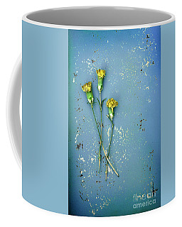 Coffee Mug featuring the photograph Dry Flowers On Blue by Jill Battaglia