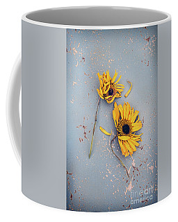 Coffee Mug featuring the photograph Dry Sunflowers On Blue by Jill Battaglia